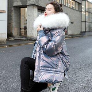 Осень и зима пуховик женская женщина новый стиль модного возраста уменьшение яркого лица теплый воротник свободно шоу тонкий капюшон