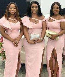 Cheap Pink Mermaid Bridesmaid Dresses High Side Split Ruffles Floor Length Ruffles Beach Wedding Guest Party Gowns Maid of Honor Dress