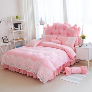 Jacquard Lace Princess Bed Set Cama de Casamento Conjuntos Queen King Bedlinen Boho Duvet Cobertura Set Meninas Bedclothes Bed Skirt