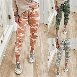 Camouflage printed lace-up trousers in spring and autumn are loose and versatile elastic leg pants for women's sweatpants