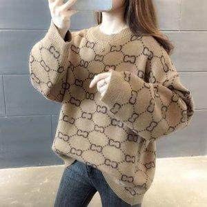 Роскошная одежда Женская свитер для женщин дизайнерские свитера Повседневная вязать контрастность цвета длинные рукава осень мода классические дамы воротник хлопок