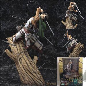 Ataque de figura de ação de 25 cm em titan rivuai boneca Levi PVC Acgn figura garagem kit brinquedos brinquedos anime brinquedo boneca presente de natal l0226