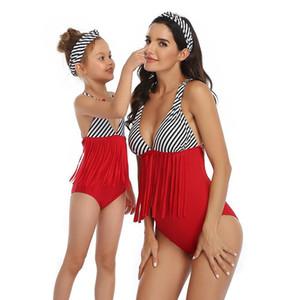 Rote gestreifte Quaste Badeanzug Mutter Tochter Swimwear Family Matching Outfits One Piece Bodysuit Bikini Strand Kleider Kleidung