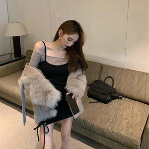 Alt Secret Elbise 2021 Yeni Sonbahar Ve Kış Stil Sıkı Siyah Askı Kadın Bel Paketi Kalça Etek