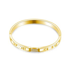 Bracelet en acier en acier en titane 6mm Bracelet de mode de diamant creux romain pour femme