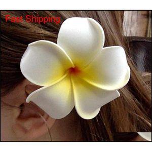 Hair Clip -50Pc Lot Nuolux Women'S Girls Hawaiian Plumeria Foam Flower Hairpin Diy Headwear Pe Frangipani Hairpin White Yellow 7O1G2 Kphhz