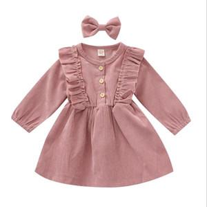 Vestidos de niñas Vestido para niños pequeños Cordillo Corduroy Princess Vestidos Bowknot Hairpin Infantil vestido de manga larga recién nacido Boutique Ropa WMQ626