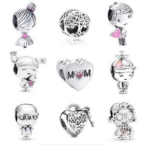 Sevimli Erkek Ve Kız Gümüş Boncuk Ağacı Kilidi Kalp Boncuk Fit Orijinal Pandora Charms Bilezik DIY Kadınlar Takı