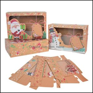 Gift Event Festive Supplies Home & Gardengift Wrap 3Pcs Set Christmas Cookie Box Kraft Paper Candy Boxes Bags Food Packaging Party Kids Year