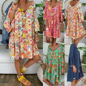 Vestidos Verano Mujeres Boho Floral Manga Larga Vestido Holiday Beach Shirt Ladies Print Mini Plus Size S-5XL