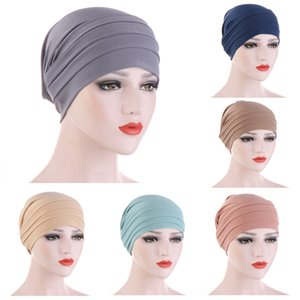 Muslim Fashion Crinkle Turban Hat Pure Color Stretch Inner Hijabs For Caps Ready To Wear Women Head Scarf Under Hijab Bonnet