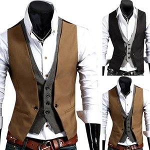 Men Formal Waistcoat Business Solid Color Single Button Vest Gilet Fake Two-pieces v Neck Casual Slim Chalecos Para Hombre1