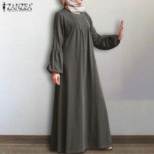Muslim Zanzea Women Dubai Abaya Turkey Hijab Dress Autumn Sleeve Solid Kaftan Sundress Vintage Maxi Long Vestido Robe