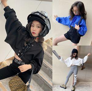 Fashion girls short sweatshirt kids lace-up Bows bat sleeve high waist pullover tops autumn children casual jumper clothes Q0994