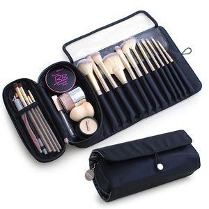 Saco cosmético dobrável com grande capacidade à prova d 'água compartimento maquiagem escova saco de armazenamento de viagem escova de maquiagem capa protetora 210226