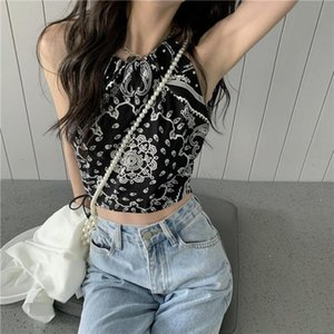 Women's Tanks & Camis Camisole Women Black Print Crops Chic Retro Summer Street BF Style Ulzzang Casual Sexy Ladies Inside Cozy Basic Tops