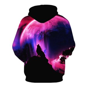 Biaolun Mode Galaxy Space Sweat à capuche Brillant Wolf Print Sweatshirts Hommes Femmes Unisexes Pull à capuche Animal 3D Tops