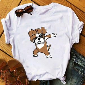 Women 2021 Cartoon Dog Shy Short Sleeve Print Animal Pet Lady Ladies Graphic Female Womens Top T Shirt T-shirts Tee T-Shirt