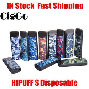 Authentic Ciggo Hipuff S Disposable Vape Pen 1.0ml Refillable Cotton Ceramic Coil 280mAh Thick Oil Pod Device Closed Up System