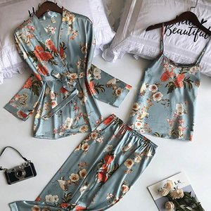 3PCS Women Pajamas Set Lady Emulation Silk Pyjama Sets Flower Sleepwear Female Leopard Satin Homewear with Removable Padded