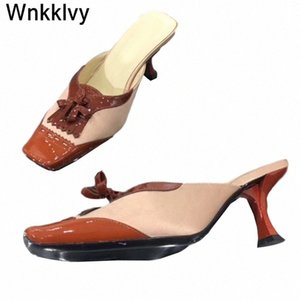 Sapatos Mulheres Kitten Heels 2020 vestido Chinelos de festa sqaure toe sandálias cetim seda retalhos franja tassel pista de verão sapatos sapatos para s1o3 #