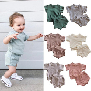 Baby Clothing Toddler Girls Short Sleeveless Solid Thread Camisole Suspender Vest Tops+Triangle Shorts Suit Outfits Fashion Baby 2PCS Set ZY