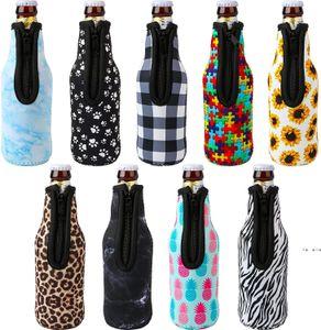 330ml 12oz Drinkware Handle Neoprene Beer Bottle Coolers Sleeve with Zipper, Bottles koozies, Softball, Sunflower Leopard Pattern FWF10415