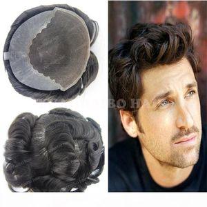8A best quality 6inch natural black virgin peruvian hair loose wave Q6 base men hair toupee free shipping