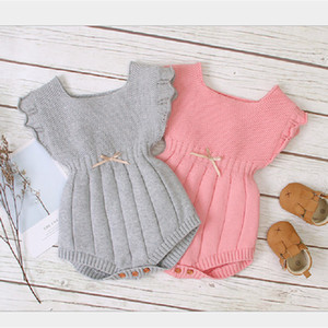 Knitted Newborn Baby Jumpsuit Spring Summer Baby Romper Ruffle Sleeve Infant Clothes For Boy Girl Cotton Toddler Playsuit Q0201
