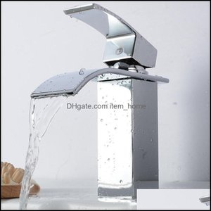 Bathroom Faucets, Showers As Home & Gardethroom Sink Faucets Basin Faucet Square Waterfall Taps Single Handle Brass Cold Water Mixer Tap Aes