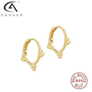Canner Ohrringe für Frauen Einfacher Drei-Ball-Punkt 100% Echt 925 Sterling Silber Ohrringe Hoops Koreanischer Feinschmuck-Pendientes