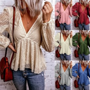 V-Neck Loose Womens Designer T-shirts Spring Summer Casual Sexy Women Tops 7 Colors Option Long Sleeve Clothing