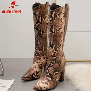 ALLEN New Ladies Casual Party Sexy Shoes Woman Fashion Snake Prints Mid Calf Boots Women High Chunky Heels Boots Mens Leather Boots Gr 75AH#