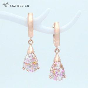 Dangle & Chandelier S&Z DESIGN Korean Elegant Colorful Water Drop Earrings Fashion Temperament 585 Rose Gold Eardrop For Women Jewelry Gift