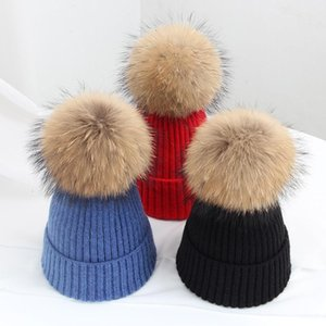 Jiangxihuitian بسيط حقيقي الفراء الكرة كاب بوم بومس شتاء قبعة للنساء فتاة قبعة محبوك بيني كاب العلامة التجارية الجديدة سميكة الإناث