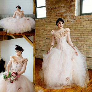 Blush country Wedding Dresses Pink Fantasy Ball Gown Whimsical Fairy Tulle Skirt beach outdoor Corset lace-up bridal Dress