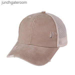 Washed Distressed Dad Unisex Womens Baseball Criss Cross Ponytail Mesh Sun Trucker Polo Hat Strapback Cap OOA8059