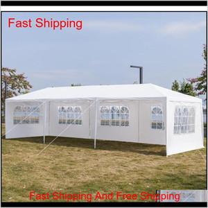 10x30ft 8 الجانبين 2 الأبواب في الهواء الطلق مظلة حزب خيمة الزفاف الأبيض 3x9m شرفة جناح مع spria qylanw ndew0 egqcl