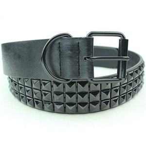 Black Fashion Rhinestone Rivet Belt Men&Women's Studded Belt Punk With Pin Buckle Free Shipping Y200110