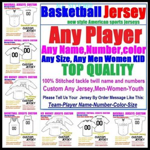 Пользовательские баскетбольные бейсбольные хоккеи льда хоккей мужчины женщин дети американский футбол трикотажные изделия спортивные формы официальный 2021 Jersey Aqua 4XL 5XL 6XL