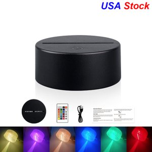 USA Stock USB Câble USB Télécommande Appuyez sur les bases de la lampe de la lampe à LED 3D Remplacement de la lumière de nuit de la lumière 7 Couleur Light Base Table Porte-décor
