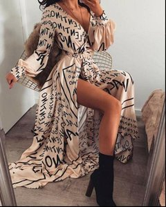 2021 New Women Printed Maxi Dress Boho Long Sleeve Sexy V Neck Letter Printing Split Long Empire Evening Party Beach Dresses