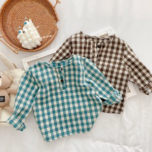 XZXY INS Korean Japan Baby Kids Girls Boys Plaid Shirts Sleeve Front Buttons Quality Little Princess Blouses Children Tops