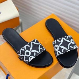 2021 Moda Lujo Flip-chappa Superestrella impresa Real Cuero Sandalias Planas Mujeres Classic Casual Zapatos Zapatillas de arena Slippers Presentación