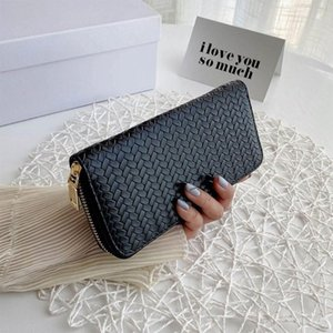 Card Holders Weave Faux Leather Long Wallet Purse Zip Around Clutch Bag Phone Holder
