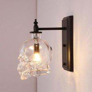 Wall Lamps Retro Loft Skull Bones Clear Glass Bottle Restaurant Bar Light Fixtures Dinning Room Cafe Industrial
