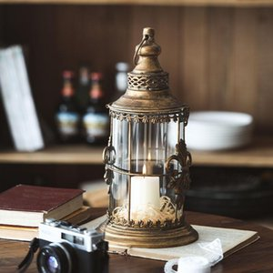 Ретро фонарь стекло стеклянный подсвечник железный портативный металлический старинный рождественский держатель свечи лампы двор свадьба украшения C6H