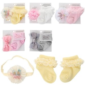 Baby Girls Socks Flower Headbands 2Pcs Sets Lace Newborn Socks Cotton Princess Infant Socks Toddler Clothes Girls Accessories 0-1T B4120