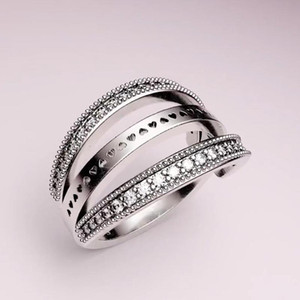 Fashion Real 925 Sterling Silver reversible RING for Pandora CZ Diamond Wedding Rings for Women With Original Box set