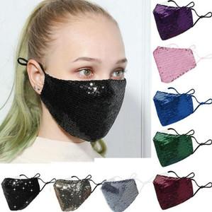 DHL 2021 Hot Fashion Blinging Blinging Sequin Paillette Дизайнер Роскошная Маска Моющиеся многоразовые маски для взрослых Mascarillas Защитная регулируемая маска